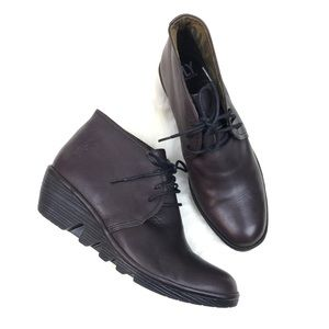 Fly London women's lace up booties size 9